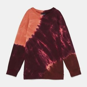 Zara Tie Dye Sweatshirt Purple Orange Pullover